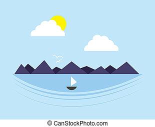 víz, hegy, színhely