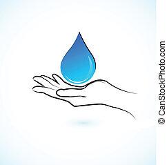 víz, jel, kézbesít, ikon, törődik