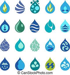 víz letesz, tervezés, elements., ikonok