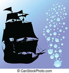 víz letesz, vektor, csónakázik, ábra