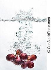 víz, loccsanás, szőlő, gyümölcs