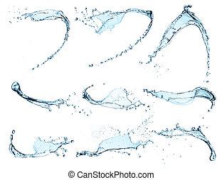 víz, loccsan, háttér, elszigetelt, magas, döntés, gyűjtés, fehér