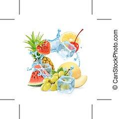 víz, multifruit, loccsanás, kikövez, jég