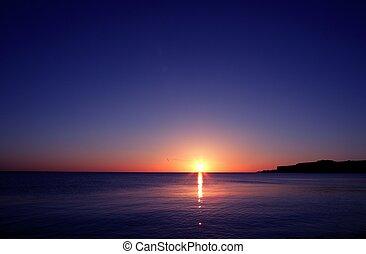víz, napnyugta, horizont, tenger, óceán