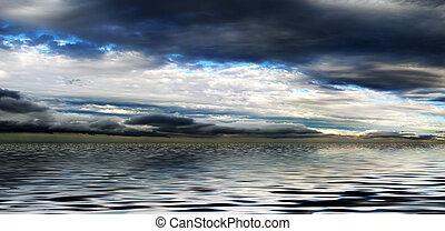 víz, panoráma, ég, felhős, felül