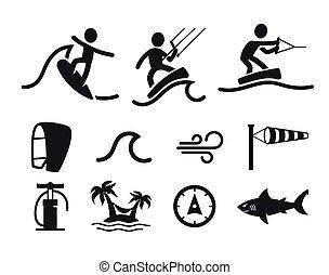 víz sport, nyár, pictograms