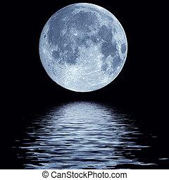 víz, tele, felett, hold