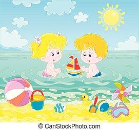 víz, tengerpart, játék, tenger, gyerekek