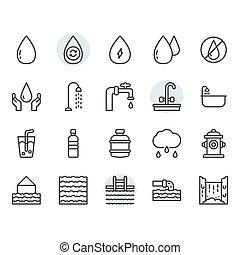 víz, tervezés, állhatatos, jelkép, ikon, áttekintés