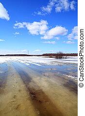 víz, vidéki út, alatt, eredet