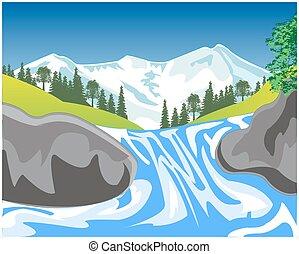 vízesés, hegy