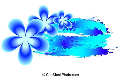 vízfestmény, frangipani, tropikus, háttér, menstruáció, kék
