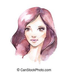 vízfestmény, girl., barna nő, női arc