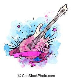 vízfestmény, gitár, elektromos, háttér