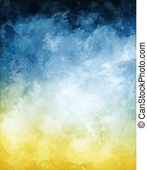 vízfestmény, háttér, elvont, kék, sárga