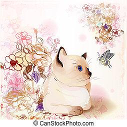 vízfestmény, kártya, cica, lepke, köszönés, őrzés, thai ember, születésnap, style., retro