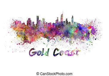 vízfestmény, láthatár, gold part