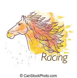 vízfestmény, ló fut, jelkép