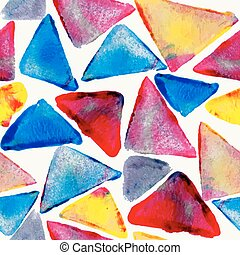 vízfestmény, motívum, háromszög, seamless