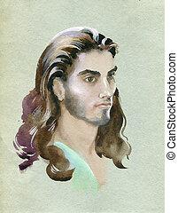 vízfestmény, portré, fiatalember