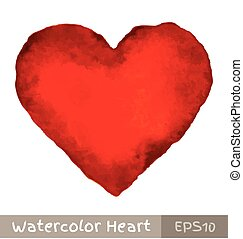 vízfestmény, szív, piros