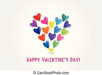 vízfestmény, szív, valentines, szeret, jel