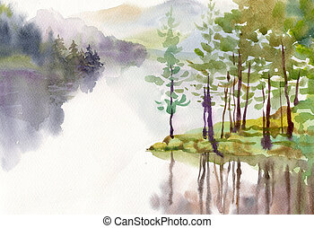 vízfestmény, táj, gyűjtés