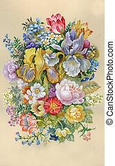 vízfestmény, virág, flowe, collection: