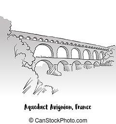 vízvezeték, köszönés, franciaország, avignion, tervezés, kártya