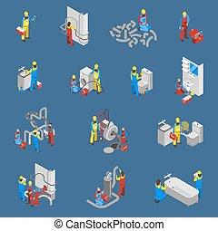 vízvezeték szerelő, állhatatos, emberek, isometric, ikon