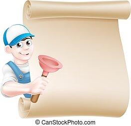 vízvezeték szerelő, búvárdugattyú, karikatúra