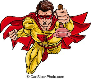 vízvezeték szerelő, búvárdugattyú, superhero, birtok, ezermester, szuper