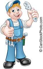 vízvezeték szerelő, betű, karikatúra, szerelő, vagy