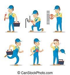vízvezeték szerelő, set., betű, ábra, wrench., vektor, repairman, karikatúra