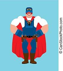 vízvezeték szerelő, superhero., katona, szolgáltatás, lakatos, maszk, raincoat., munkás, erős, szuper