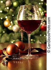 vörös bor, pohár asztal