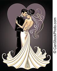 vőlegény, menyasszony