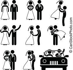 vőlegény, menyasszony, házasság, esküvő