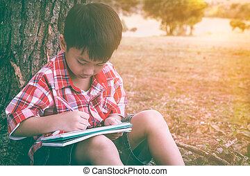 vacation., szüret, nemzeti, tone., liget, rajz, asian gyermekek, oktatás, concept.