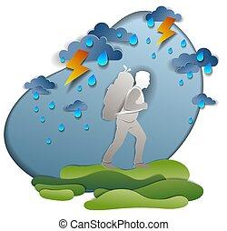 vacations., eső, pasas, ünnepek, backpack., gyalogló, viharos, égiháború, test., kiránduló, szállítás, túlélés, természetjárás, időjárás, át, ábra, ember, vektor, motiváció