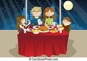 vacsora, étkezési, család