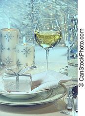 vacsora, ünnepek, beállítás, tehetség, ünnepies