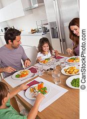 vacsora, család, egészséges eszik