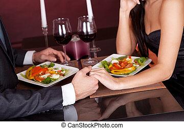vacsora, párosít, romantikus, étterem