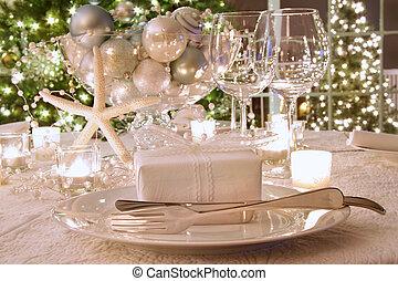 vacsora, tehetség, asztal, irodalom, ünnep, fehér, elegantly, felszalagozott