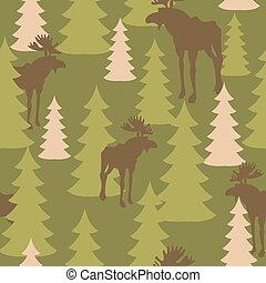 vadász, jávorszarvas, oltalmazó, hadsereg, fa., őz, seamless, álcáz, forest., vektor, struktúra, motívum, hadi, pattern.