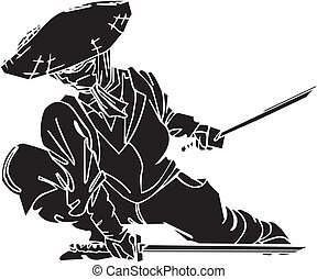 vadászrepülőgép, illustration., -, vektor, vinyl-ready., ninja