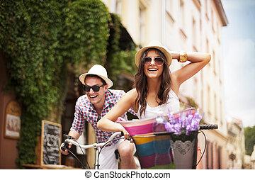 vadászrepülőgép, párosít, bicikli, egymást, boldog