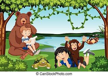 vad állat, gyerekek, színhely