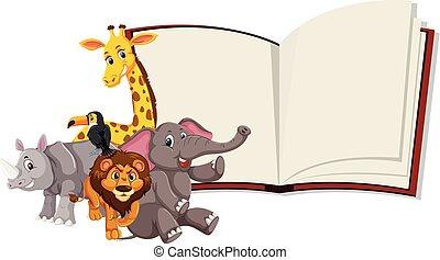 vad állat, könyv, nyílik, sablon